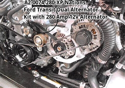 Dual Alternator Kit for Ford Transit Van 3.5L and 3.7L with 280XP Alternator