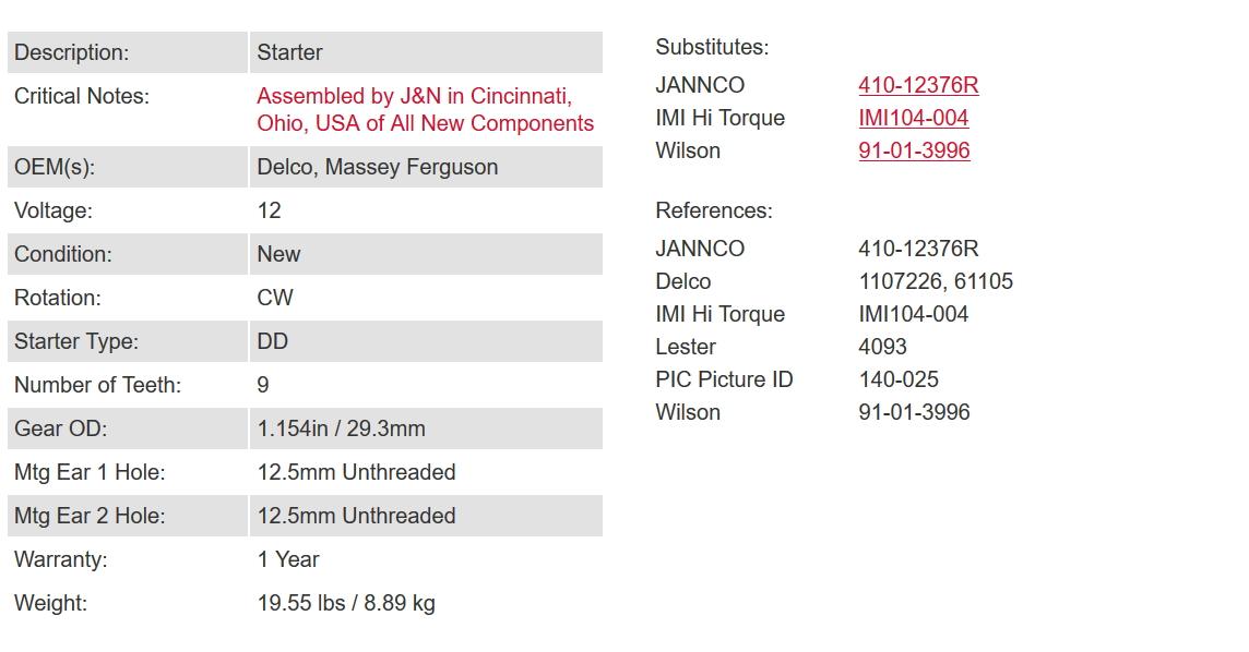 410-12376 Massey Ferguson 12V USA Made starter replacement for 6 Volt  Starters on T0-20 & TO-30 (Lester 4093)